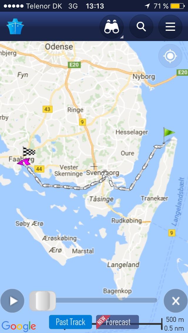 Unsere Route von Svendborg nach Fåborg (2. Tag)